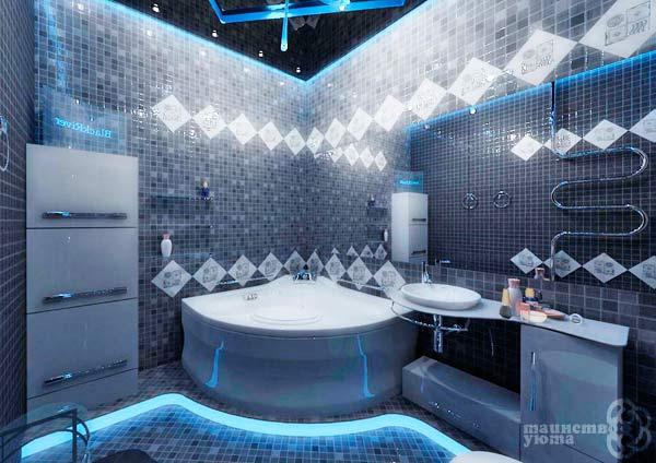 пример ванной комнаты в стиле хай-тек фото