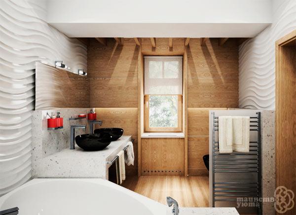 имитация дерева в интерьере ванной комнаты