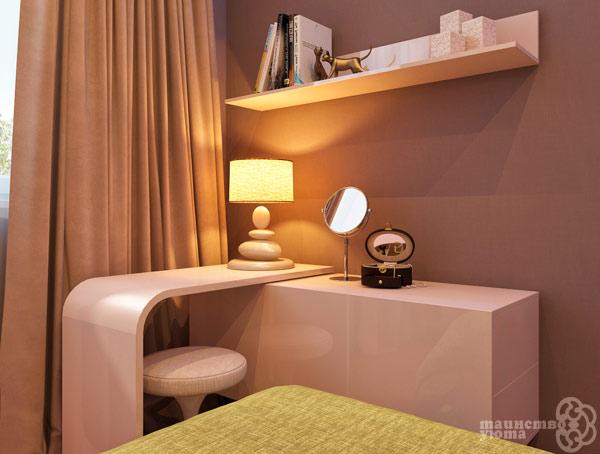 угловой туалетный столик в интерьере спальни