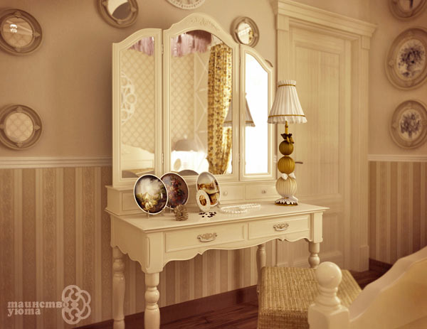 красивое зеркало в дизайне туалетного столика фото