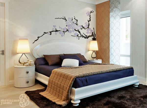 декоративный интерьерные наклейки в спальне фото