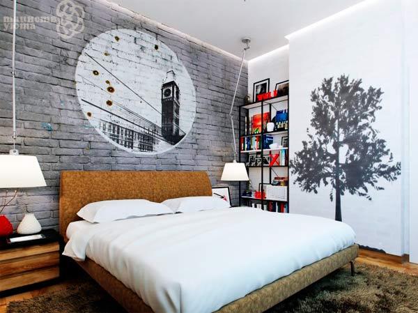 интерьер спальни с виниловой наклейкой фото