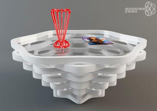 журнальный стол из стекла и пластика фото