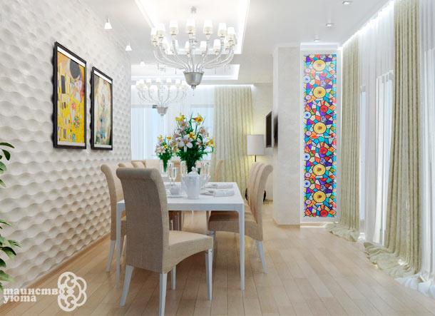 3d стеновые панели в столоой фото