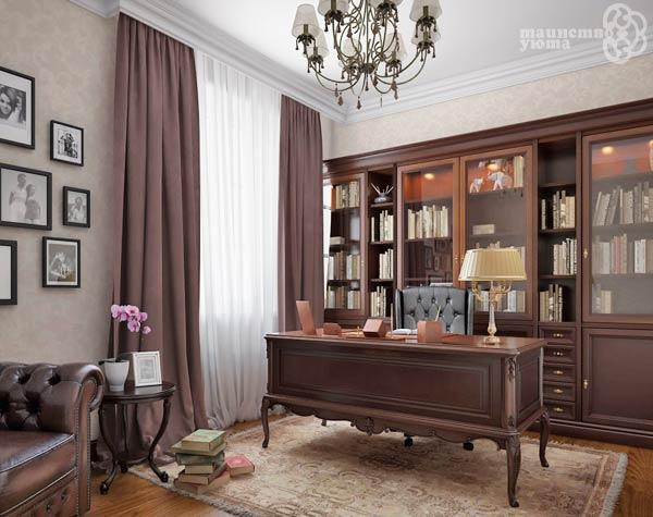 дизайн рабочего кабинета в классическом стиле фото