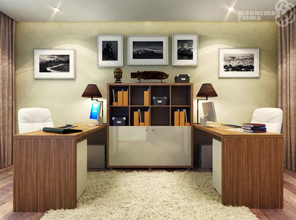 дизайн домашнего рабочего кабинета для двоих