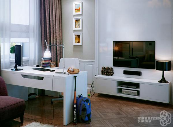 телевизор в домашнем рабочем кабинете