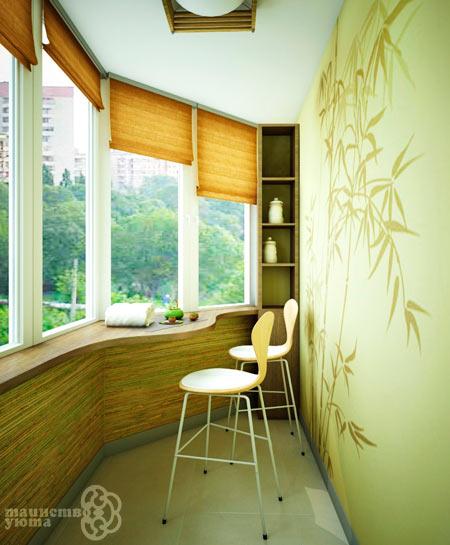 дизайн балкона с барной стойкой
