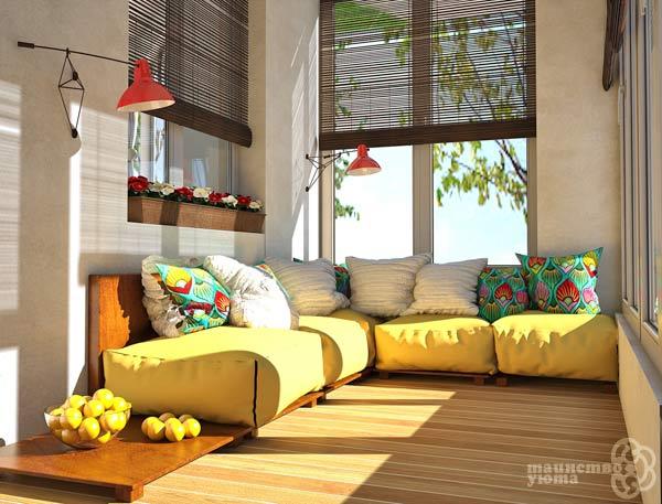 подушки и пуфы в дизайне балкона