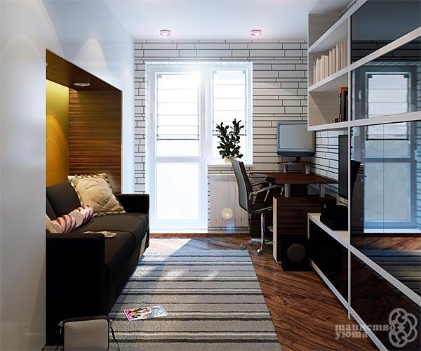 маленькая узкая гостиная варианты дизайна