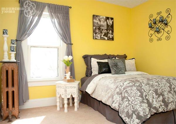 желтый и серый в дизайне интерьера фото