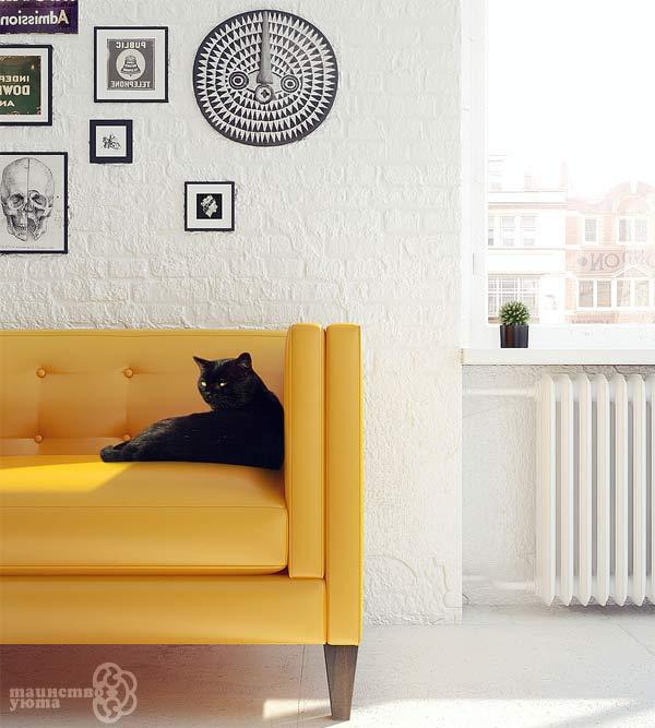 желтый белый и черный в дизайне интерьера
