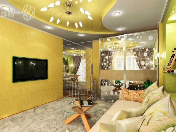 яркий желтый интерьер гостиной фото