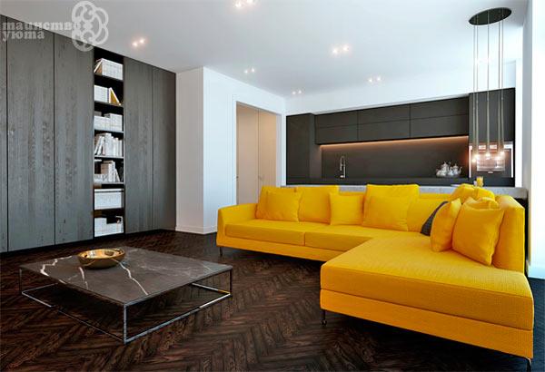 желтый с черным в дизайне интерьера комнаты