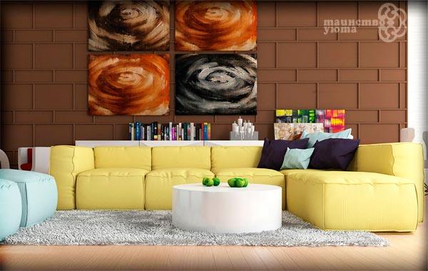 кремовый оттенок желтого в интерьере комнаты фото