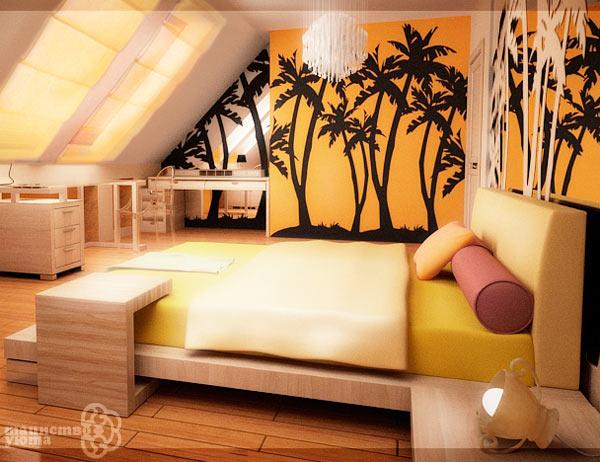 креативный интерьер с желтыми стенами