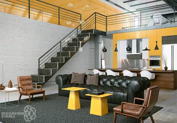 желтый цвет в интерьере гостиной комнаты