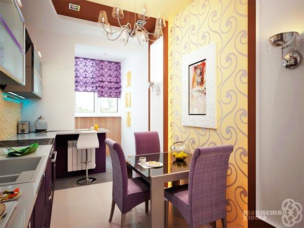 сочетание желтого и фиолетового в интерьере комнаты фото
