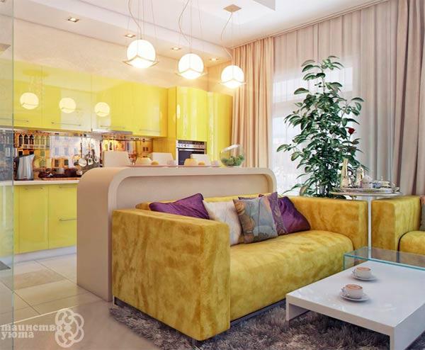 Интерьер комнаты в желтом цвете фото