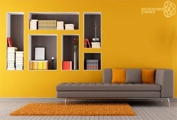 янтарный темно желтый цвет а интерьере комнаты