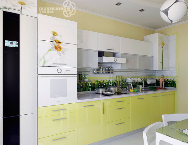 желтый цвет в интерьере кухни фото