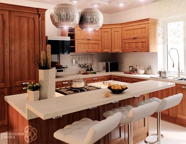 пример расположения острова в интерьере кухни