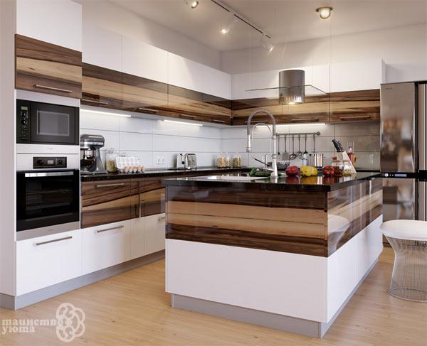 мебельный гарнитур для кухни с островом