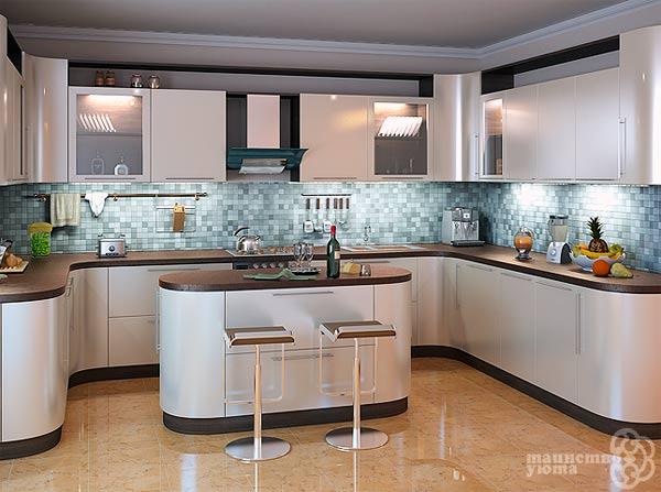 Остром овальной формы в дизайне кухни