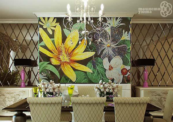 Декоративное панно из мозаики в интерьере
