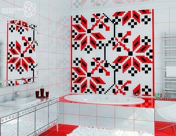 облицовка стены мозаикой фото