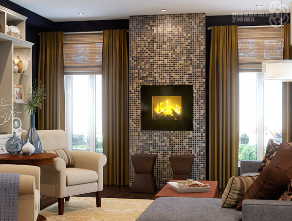 облицовка камина мозаикой фото