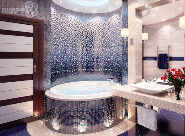 керамическая мозаикав интерьере ванной