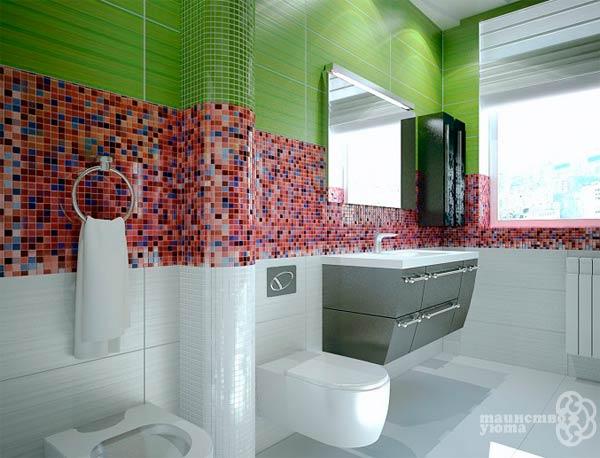 плитка мозаика в дизайне ванной комнаты фото