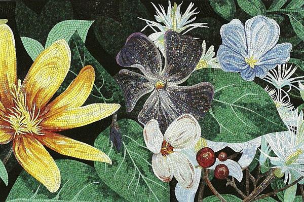 пример картины из мозаики в интерьере