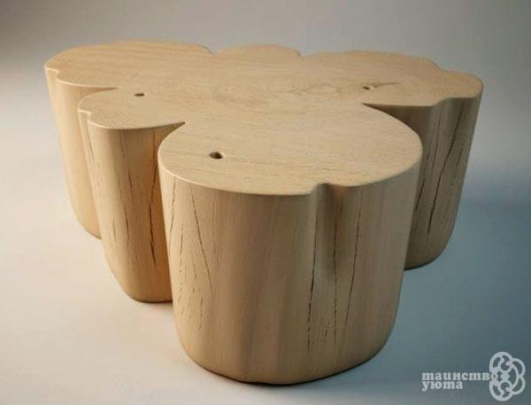 большой журнальный стол в виде сруба дерева