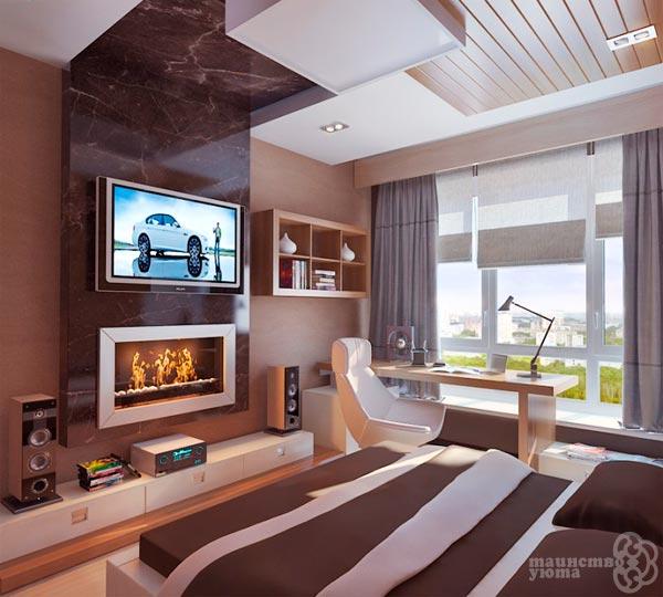 камин и телевизор в спальне