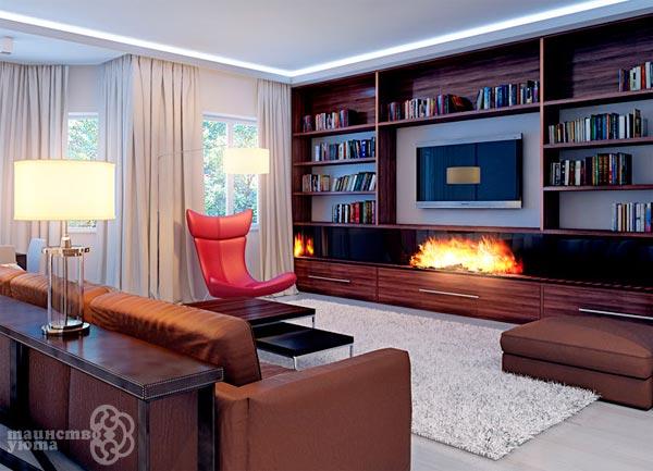 оптимальные пропорции камина и телевизора в интерьере