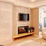 Телевизор над камином в интерьере + другие варианты расположения