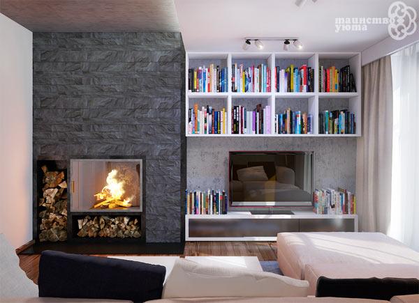 дровяной камин и телевизор в дизайне интерьера