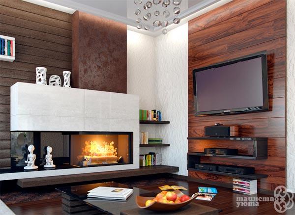 угловое размещение камина и телевизора