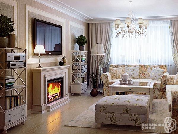 интерьере комнаты с камином и телевизором
