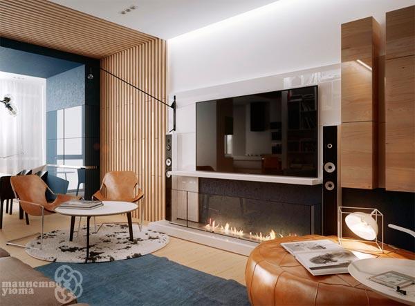 оформление стены с камином и телевизором