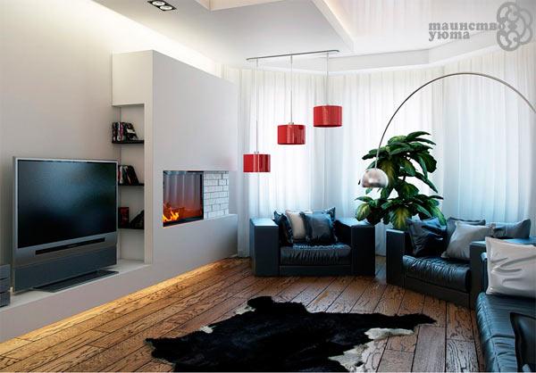 оформление интерьера с телевизором и камином на стене