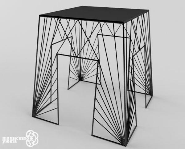 металлический современный журнальный стол