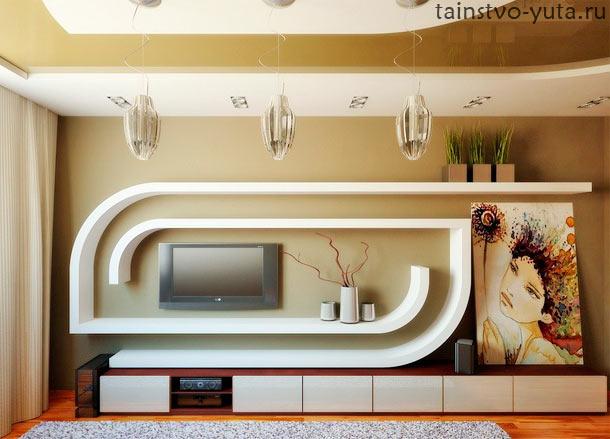 гипсокартон в оформлении стены у телевизора