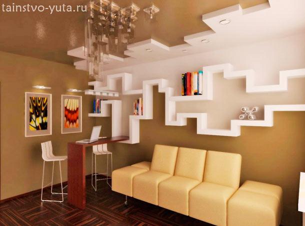 интерьер зала из гипсокартона