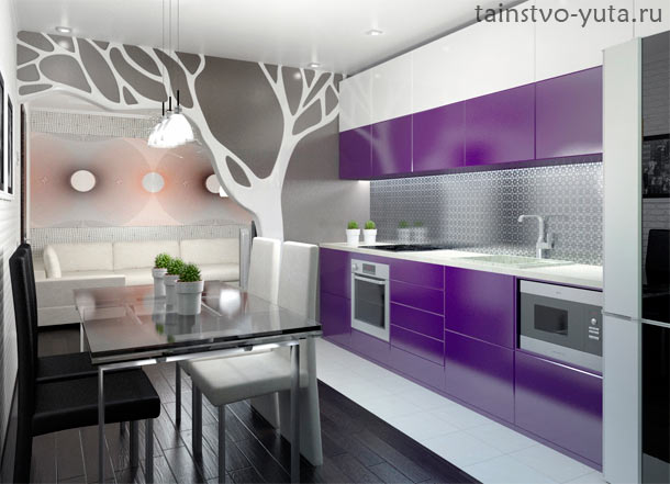 серо фиолетовый интерьер