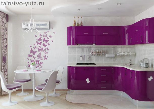 бело фиолетовый интерьер