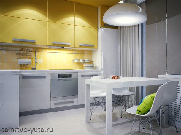 минималистичный дизайн маленькой кухни