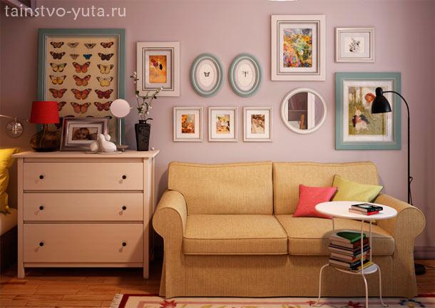 композиция из картин над диваном
